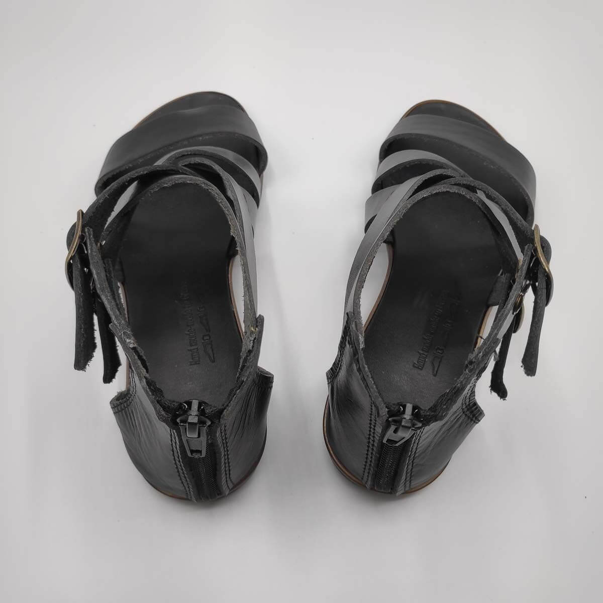 Black Leather Zip Back Sandals for women | Down Town | Pagonis Greek Sandals