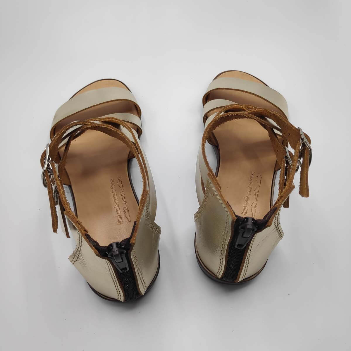 Gold Leather Zip Back Sandals for women | Down Town | Pagonis Greek Sandals