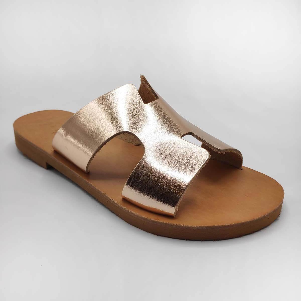 Hermes Slides Leather Sandals in Rose Gold Colour