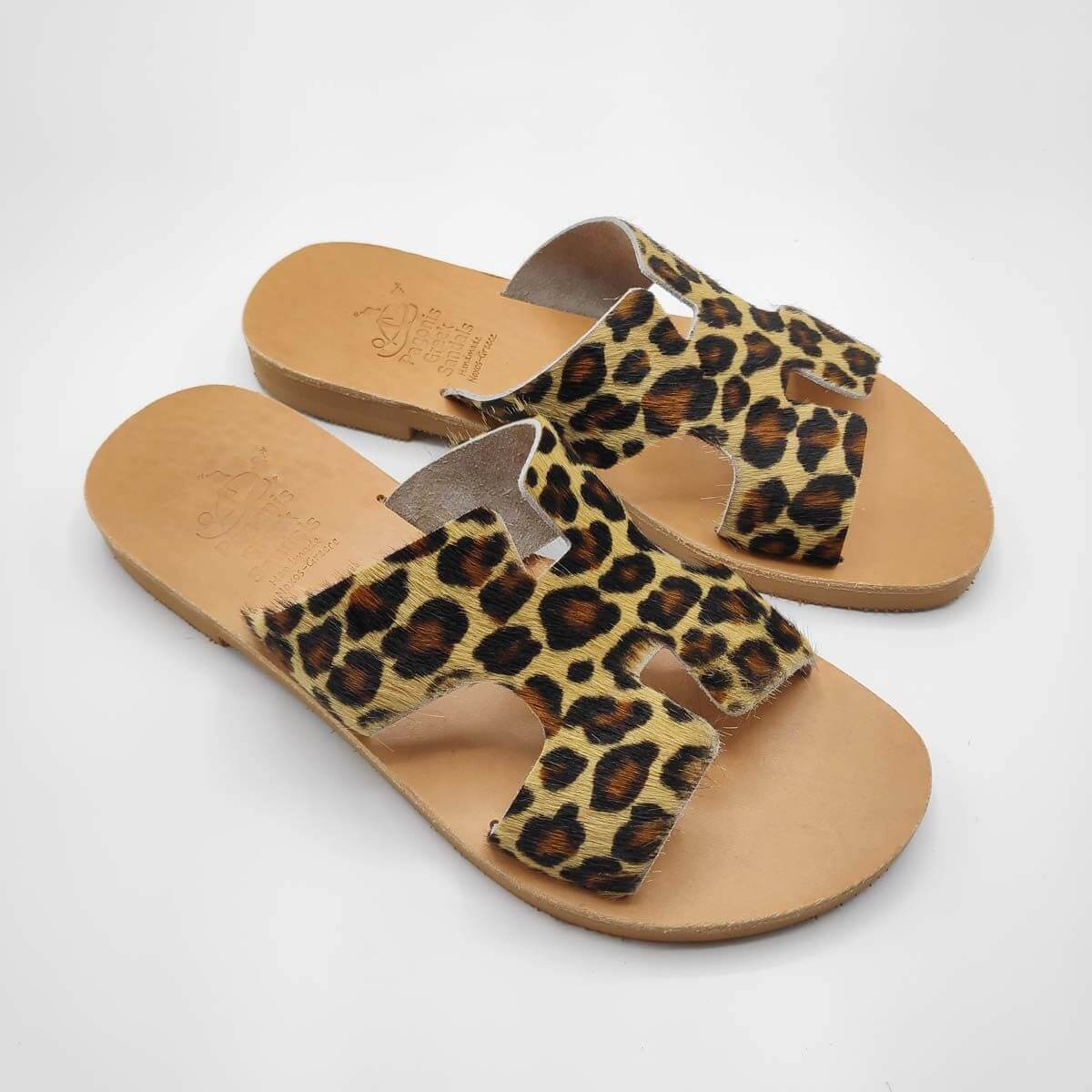 Leopard Print Fur Sandals Greek Hermes | Pagonis Greek Sandals
