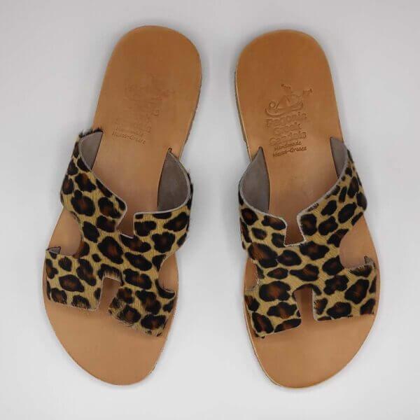 Leopard Print Fur Sandals Greek Hermes | Pagonis Greek Sandals