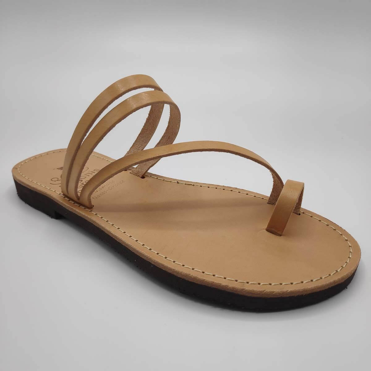 Tan Leather Sandals with toe loop | Comi | Pagonis Greek Sandals