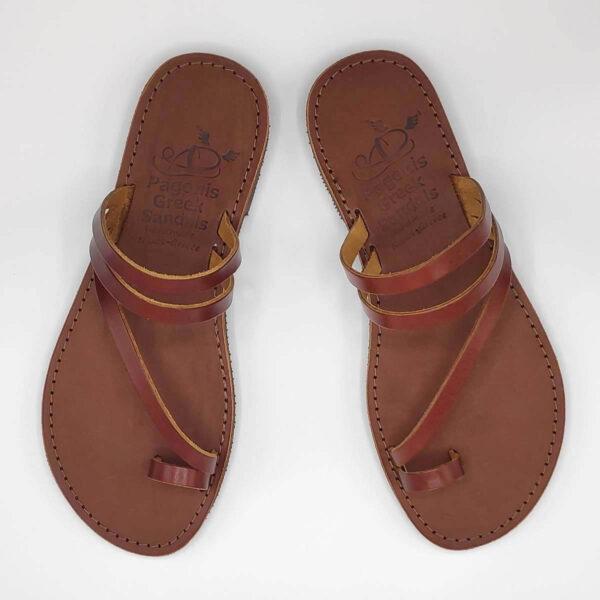 Brown Leather Sandals with toe loop | Comi | Pagonis Greek Sandals