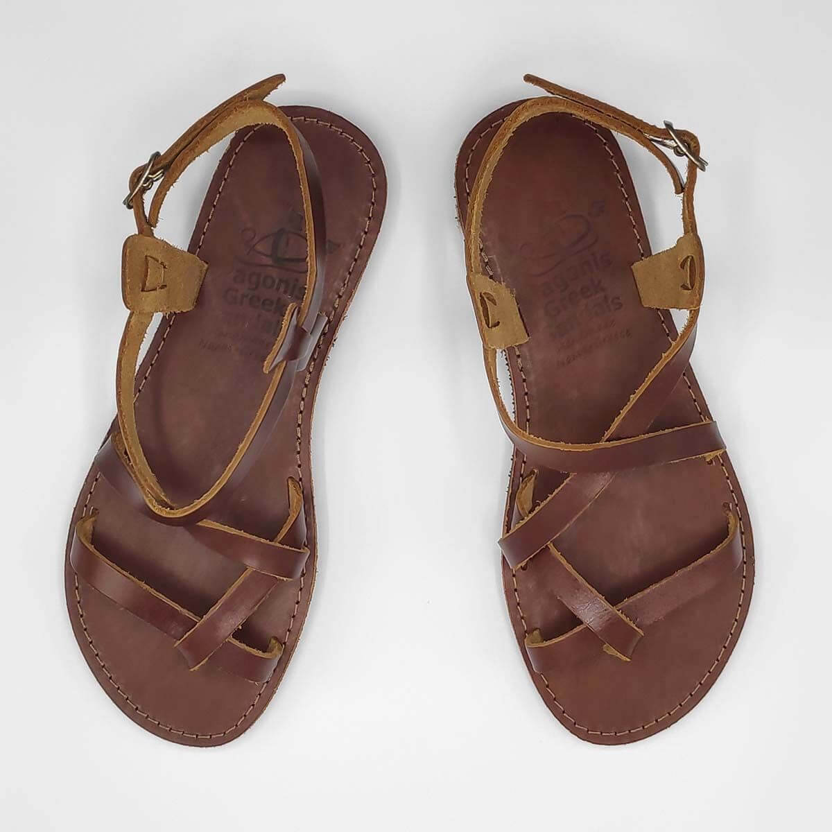 AMMOS Men leather sandals - AMMOS Sandals with Back Strap | Pagonis Greek Sandals