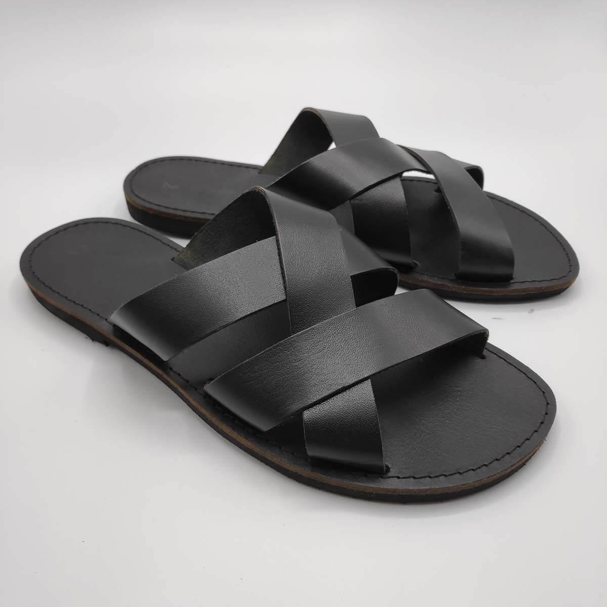 leather sandals for men black three straps criss cross side view - Avithos Men