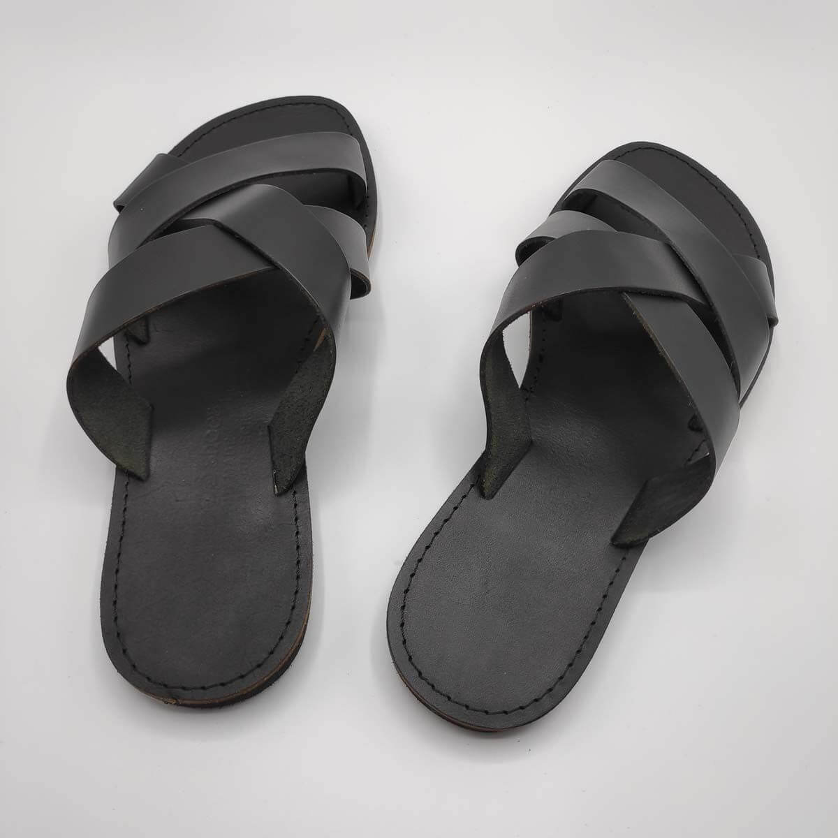 leather sandals for men blackthree straps criss cross black view - Avithos Men