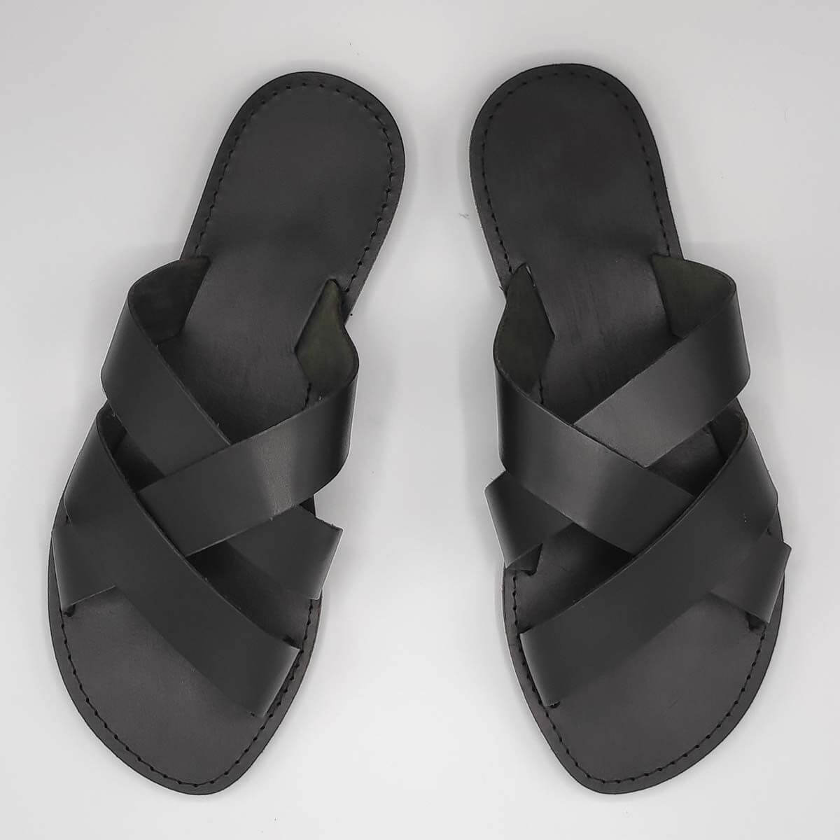 leather sandals for men black three straps criss cross top view - Avithos Men