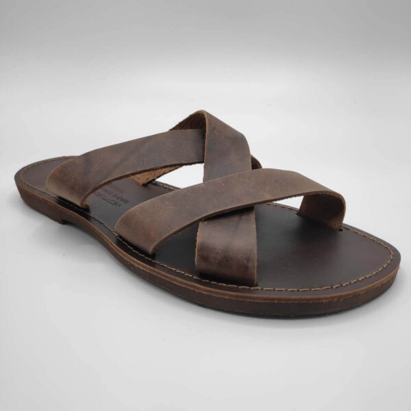 leather sandals for men brown three straps criss cross side view single - Avithos Men