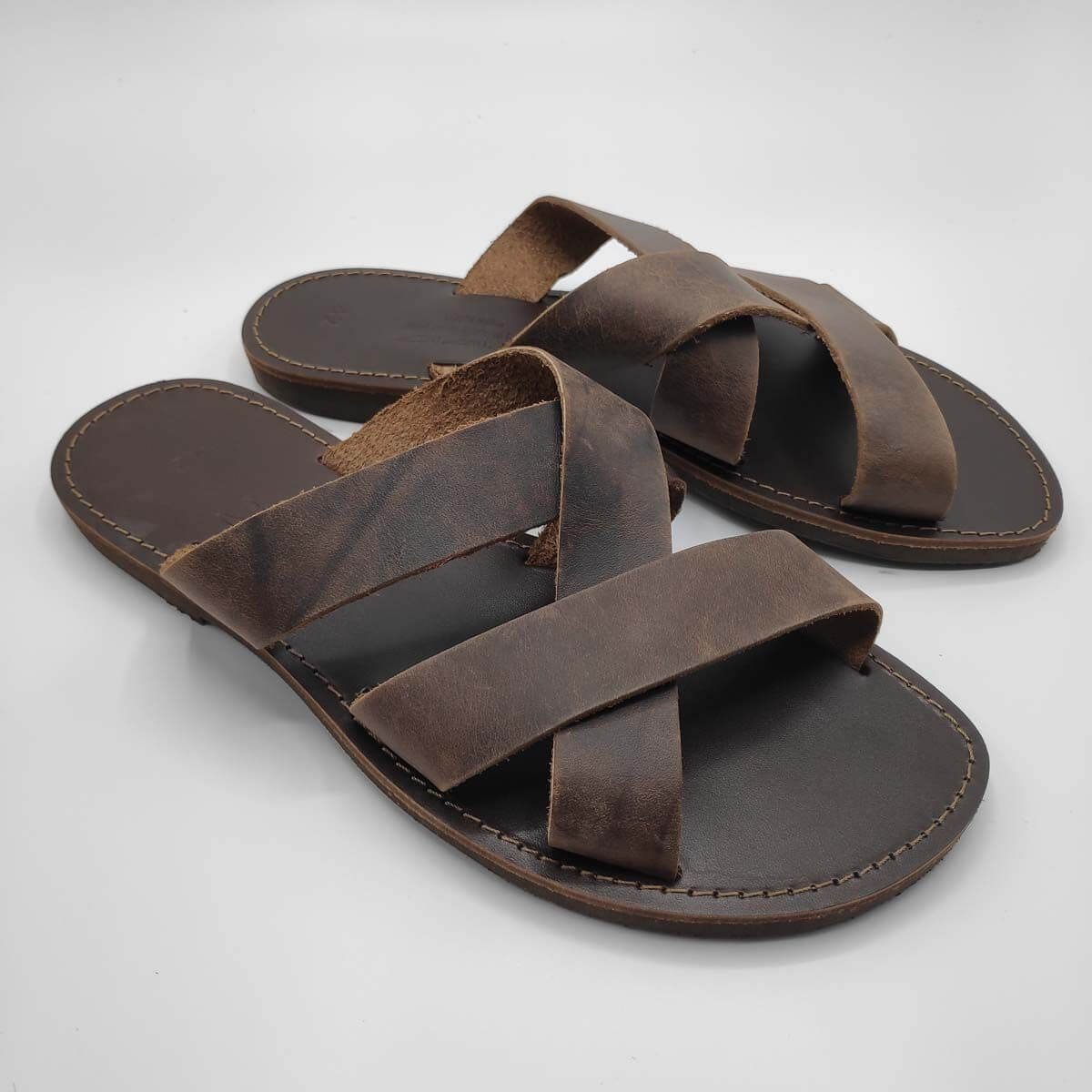leather sandals for men brown three straps criss cross side view - Avithos Men