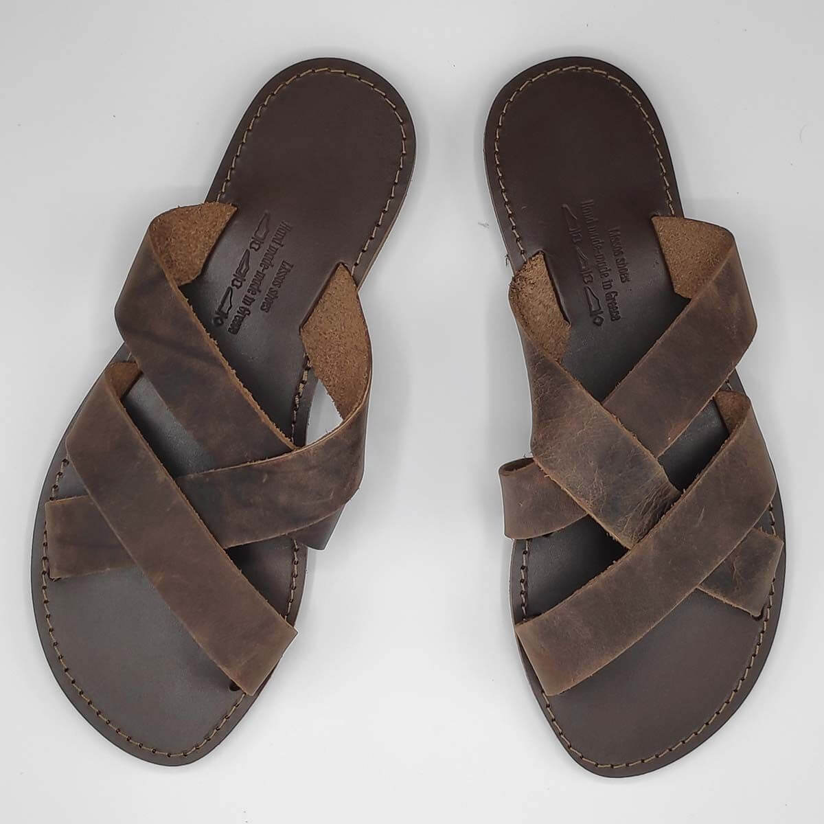 leather sandals for men brown three straps criss cross top view - Avithos Men