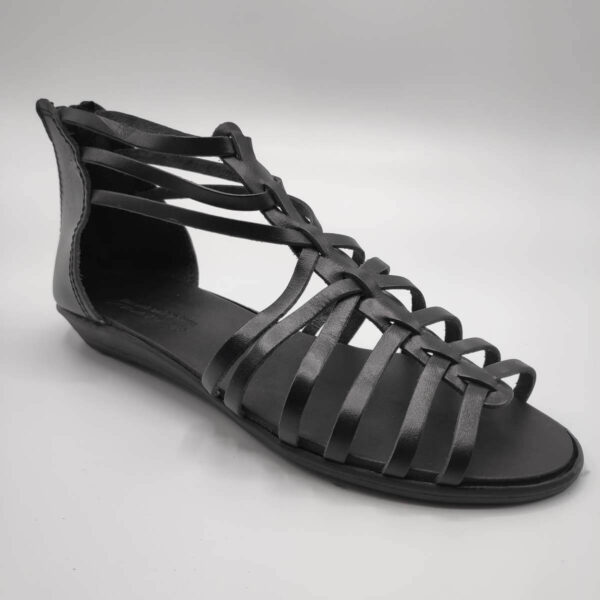 Black gladiator sandals with back zipper close leather shoes side view single