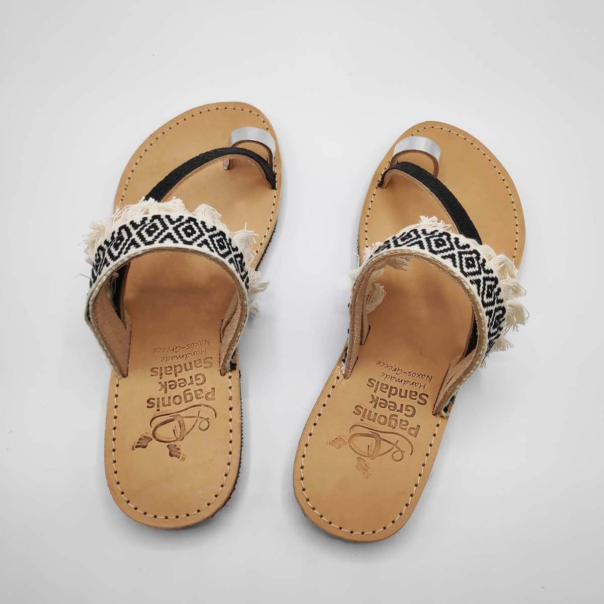 Black & White Fabric & Leather Boho Sandals with Fringes | Comi Boho | Pagonis Greek Sandals
