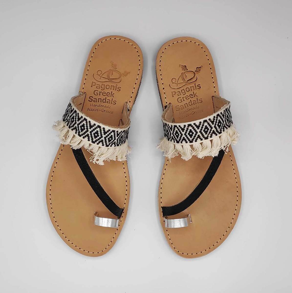 vBlack & White Fabric & Leather Boho Sandals with Fringes | Comi Boho | Pagonis Greek Sandals