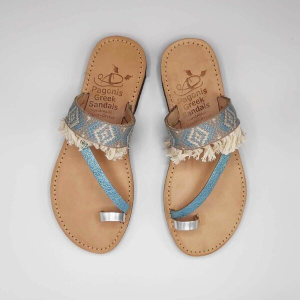 Blue Fabric & Leather Boho Sandals with Fringes | Comi Boho | Pagonis Greek Sandals