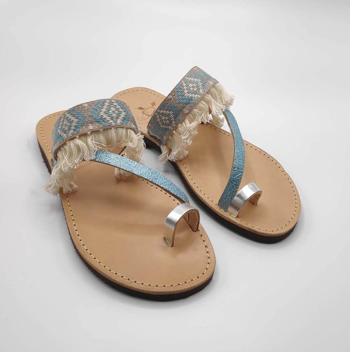 Pirgi slide - leather handmade embellished sandal with three thin front straps and toe