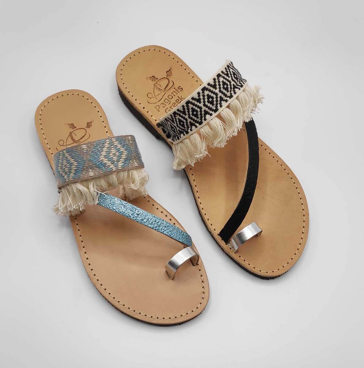 Leather Boho Sandals with Fringes | Comi Boho | Pagonis Greek Sandals