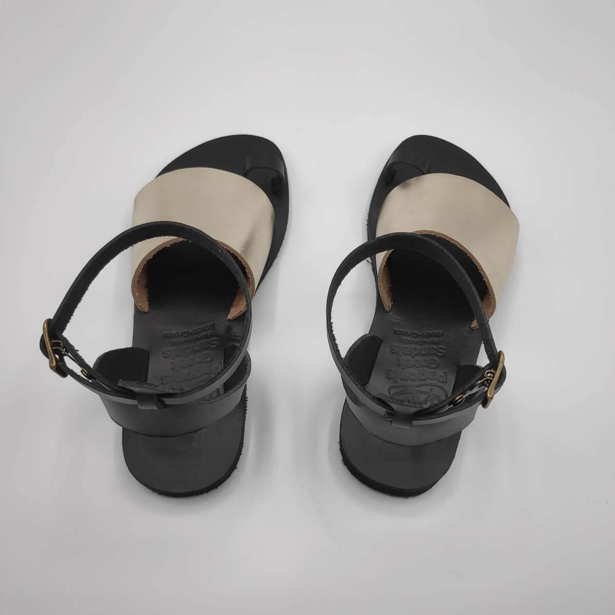 Gold Black Leather Sandals with ankle strap