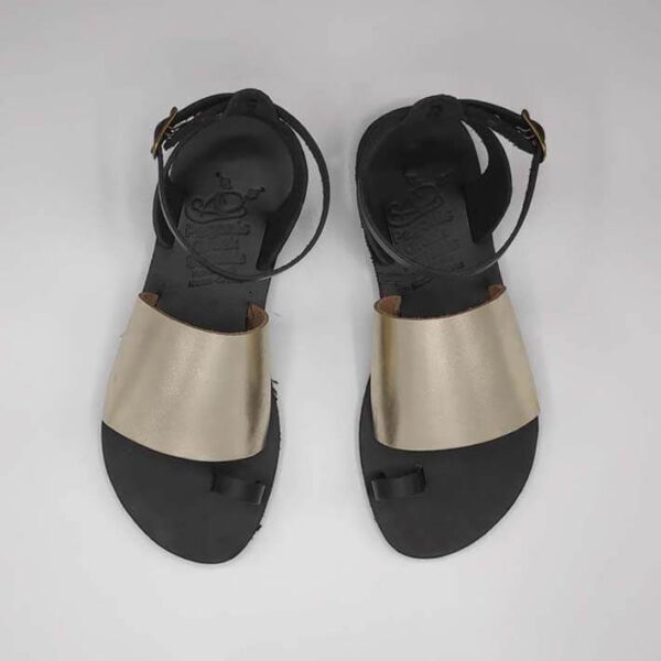 Gold Black Leather Sandals with ankle strap | Pagonis Greek Sandals