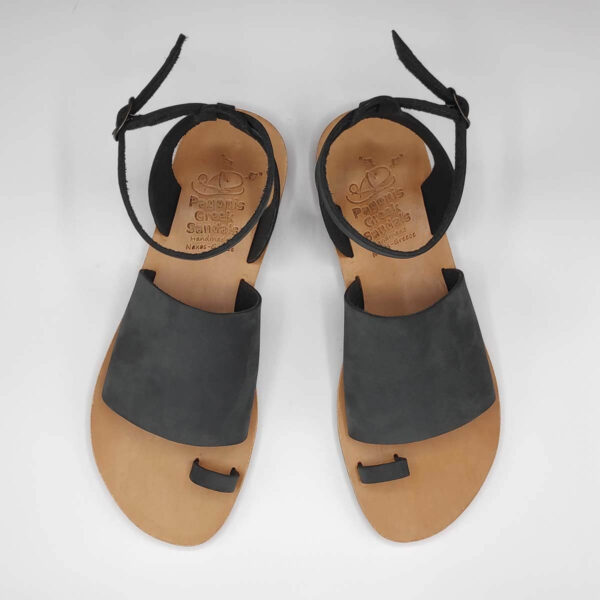 Black Leather Sandals with ankle strap | Pagonis Greek Sandals