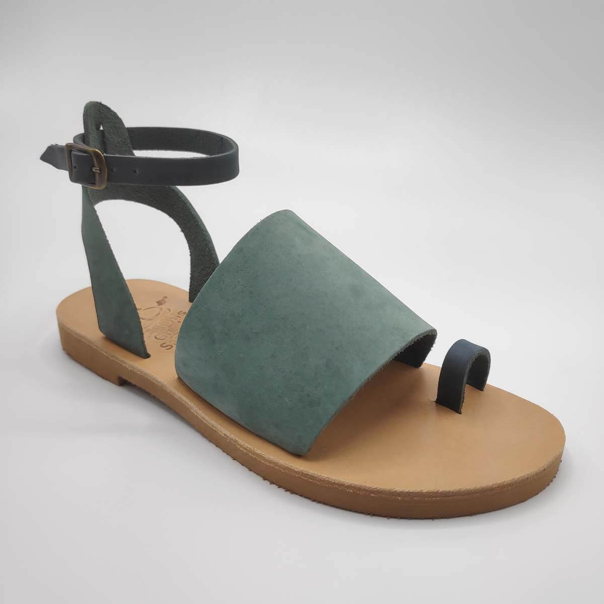 Green Leather Sandals with ankle strap