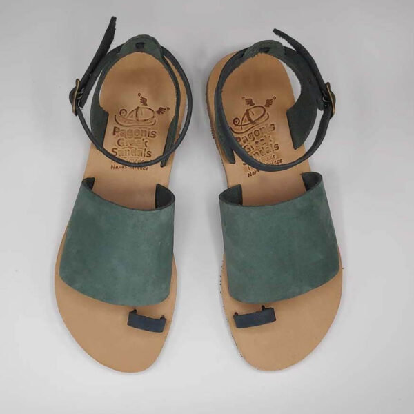 Green Leather Sandals with ankle strap | Pagonis Greek Sandals