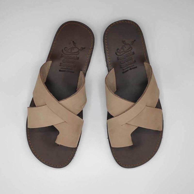 Orcos Mens Leather Slide Sandals | Pagonis Greek Sandals