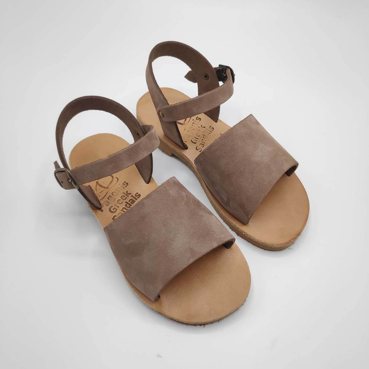 Brown Leather Sandals for girls | Stafili Kids | Pagonis Greek Sandals