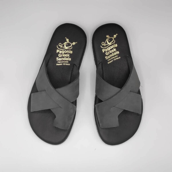Orcos Mens Leather Slide Sandals | Pagonis Greek Sandals