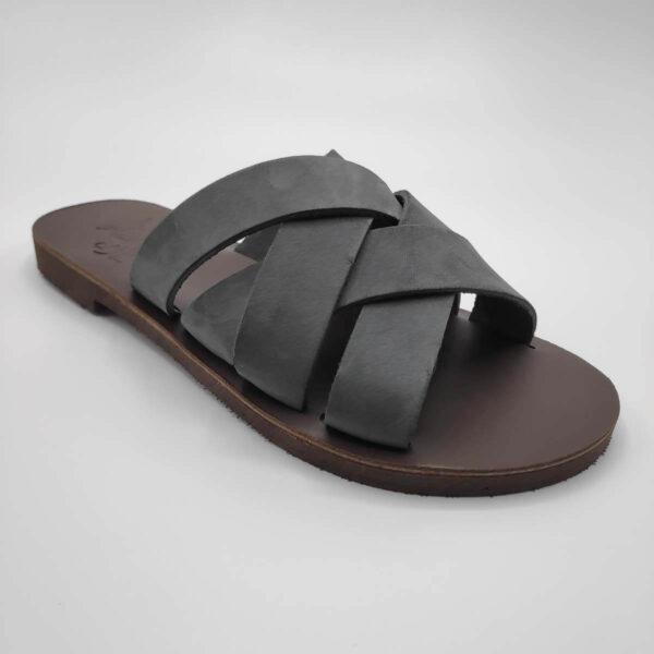 Luna leather slides | Pagonis Greek Sandals
