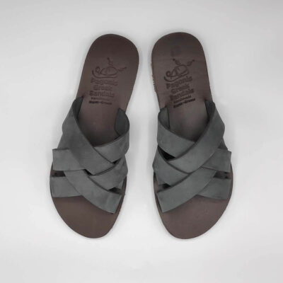 Luna leather slides | Pagonis Greek Sandals