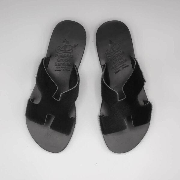 Black Fur Sandals Greek Hermes | Pagonis Greek Sandals