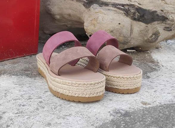 Two Strap Brown and Pink Leather Platform Sandals