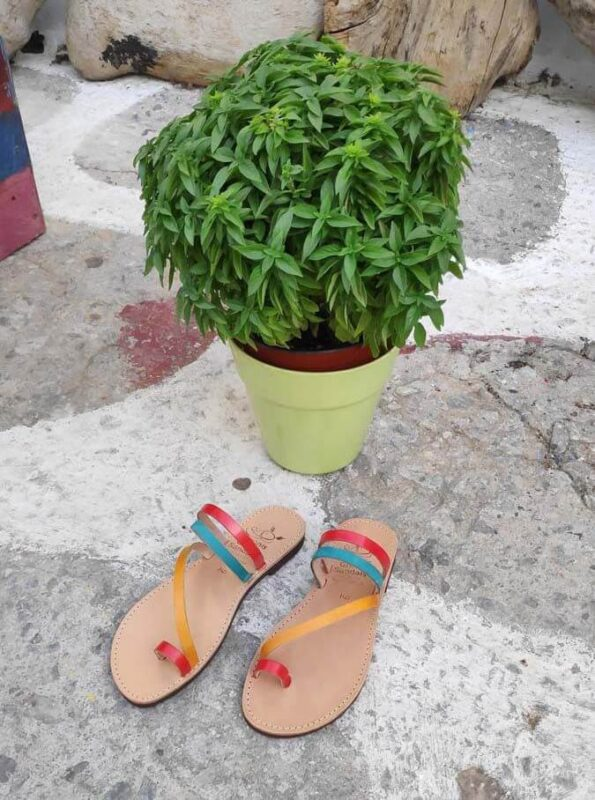 Multi-Colour Leather Sandals with toe loop | Comi | Pagonis Greek Sandals