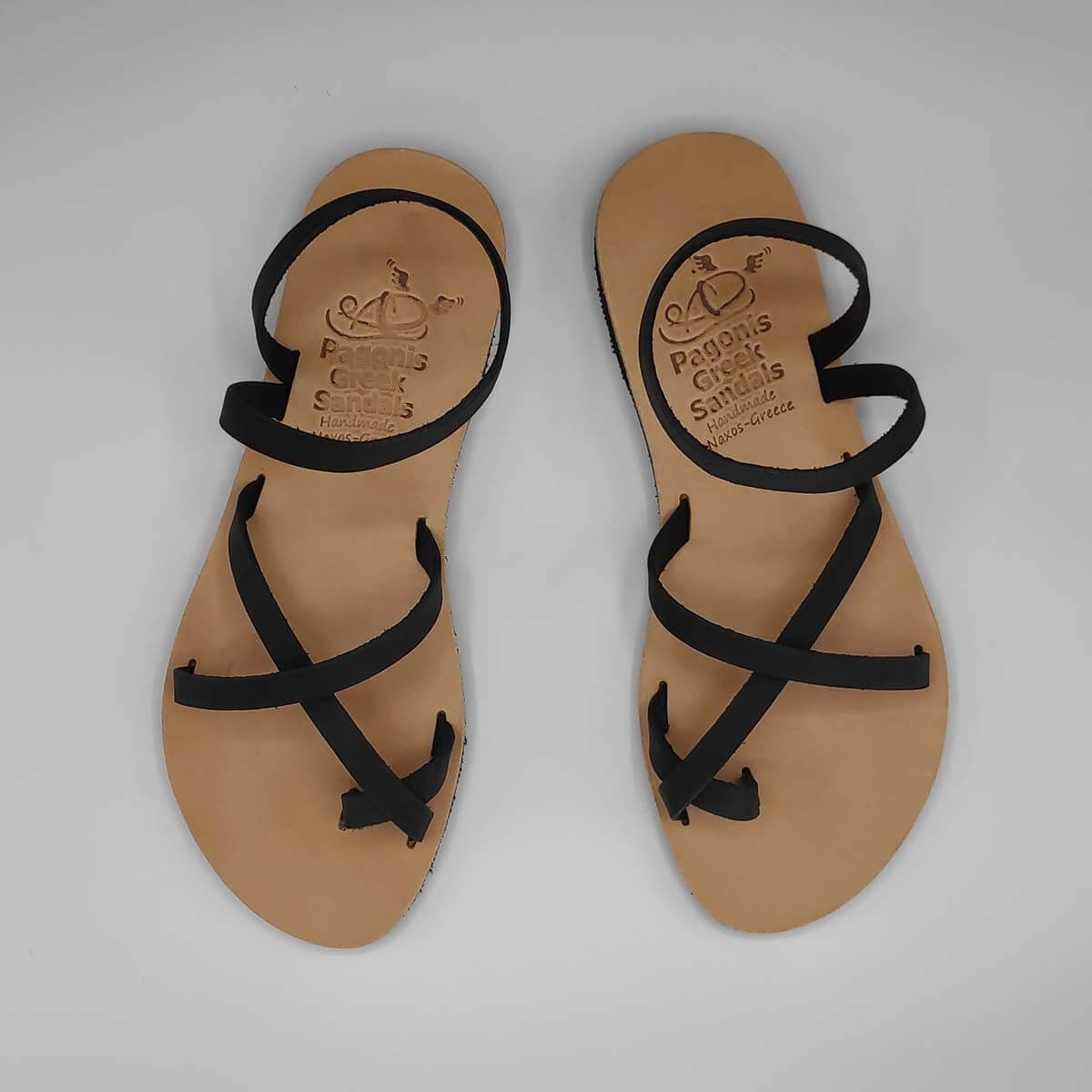 Black Leather Strappy Sandals with Toe Straps | Antiparos | Pagonis Greek Sandals