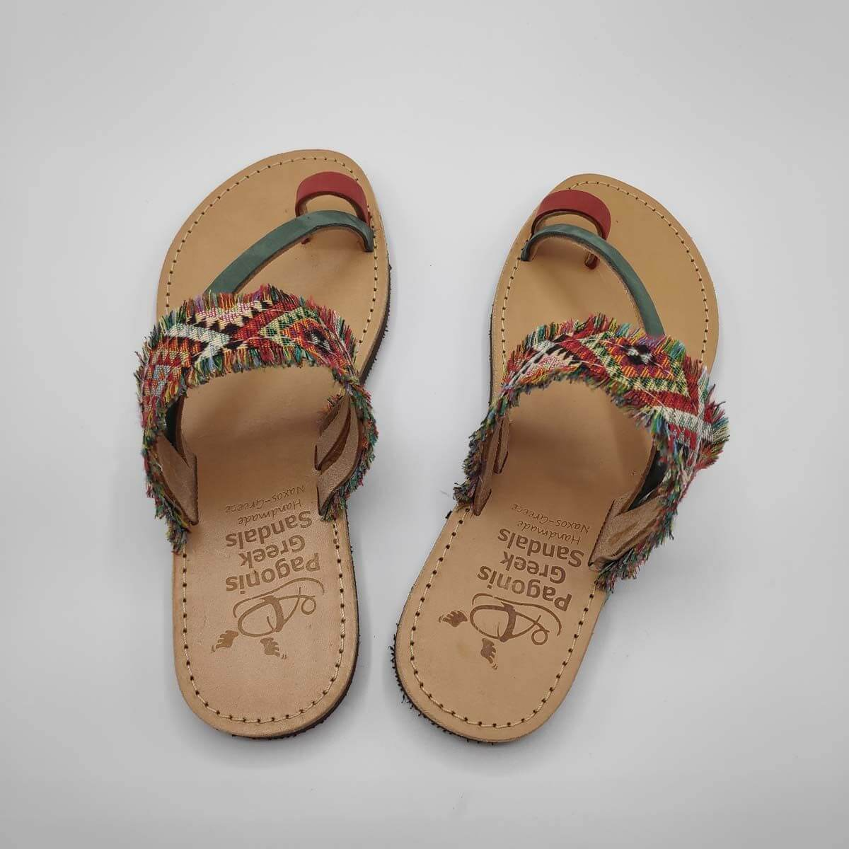 Pink & Blue Fabric & Leather Boho Sandals with Fringes | Comi Boho | Pagonis Greek Sandals