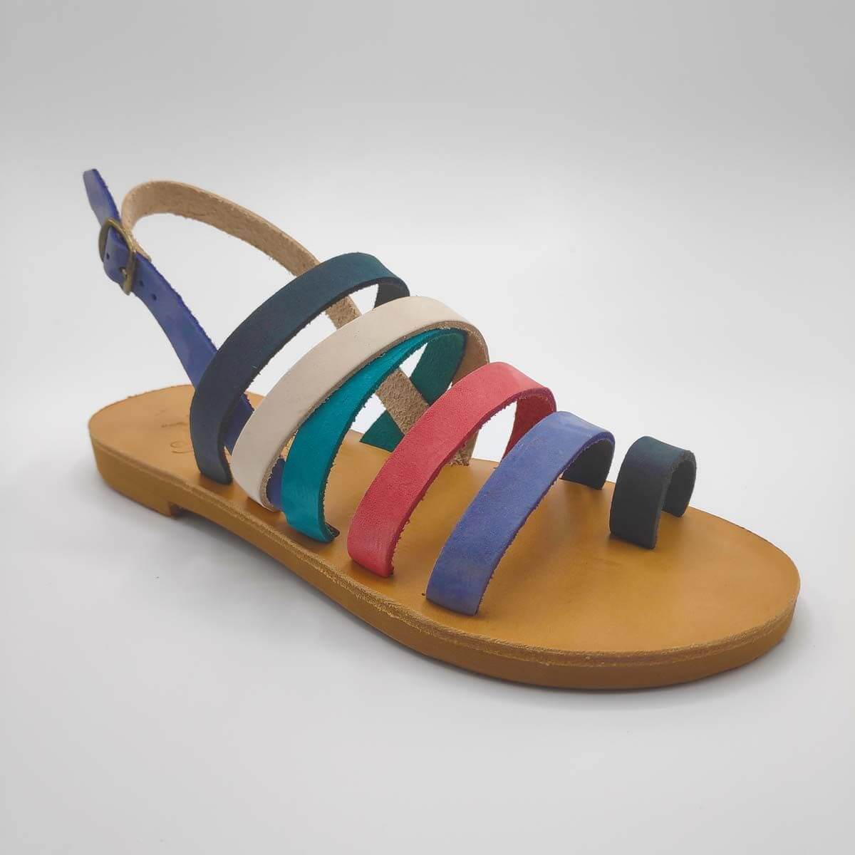 Colourful Strappy Leather Sandals with Toe Ring and Backstrap - Athena Side View Single