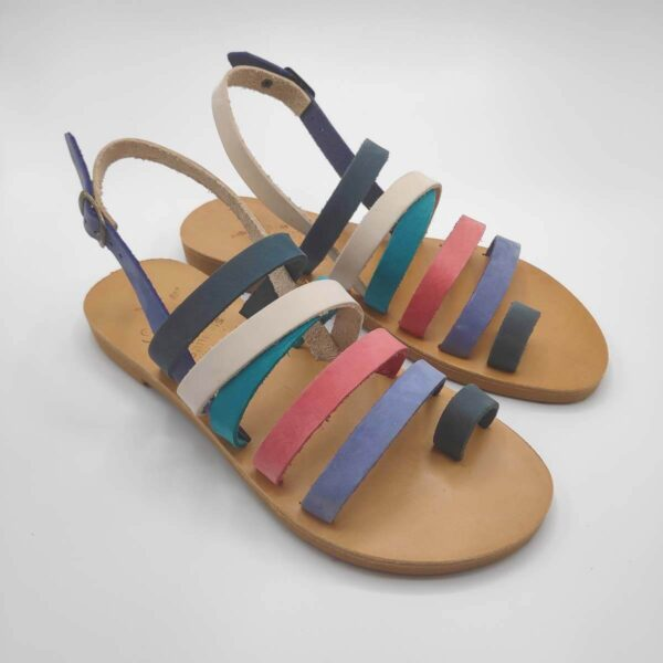 Colourful Strappy Leather Sandals with Toe Ring and Backstrap - Athena Side View 3