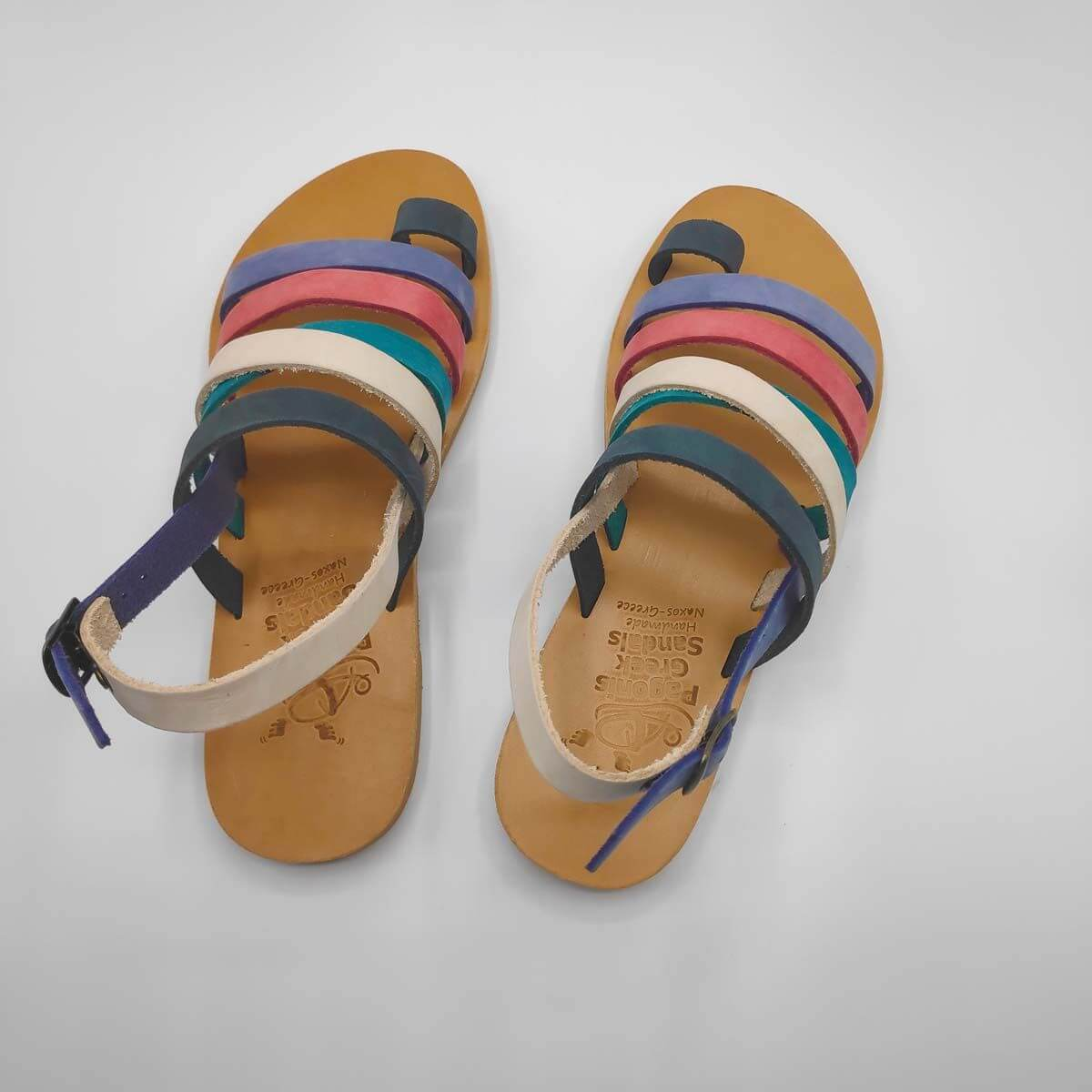 Colourful Strappy Leather Sandals with Toe Ring and Backstrap - Athena Back View