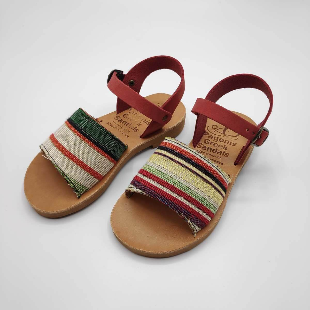 Leather Toddler Sandals For Girls | Pink and stripes fabric