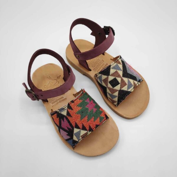 Leather Toddler Sandals For Girls | Purple and checkered fabric