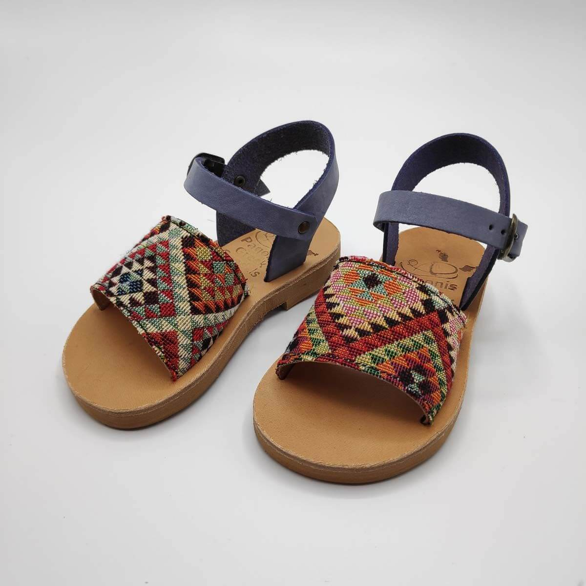 Leather Toddler Sandals For Girls | Lilac and checkered fabric