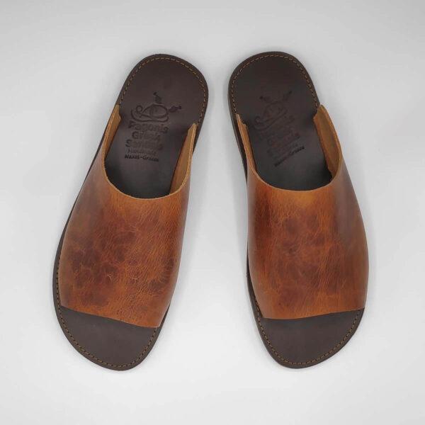 Sozon Mens Leather Mule Sandals | Pagonis Greek Sandals