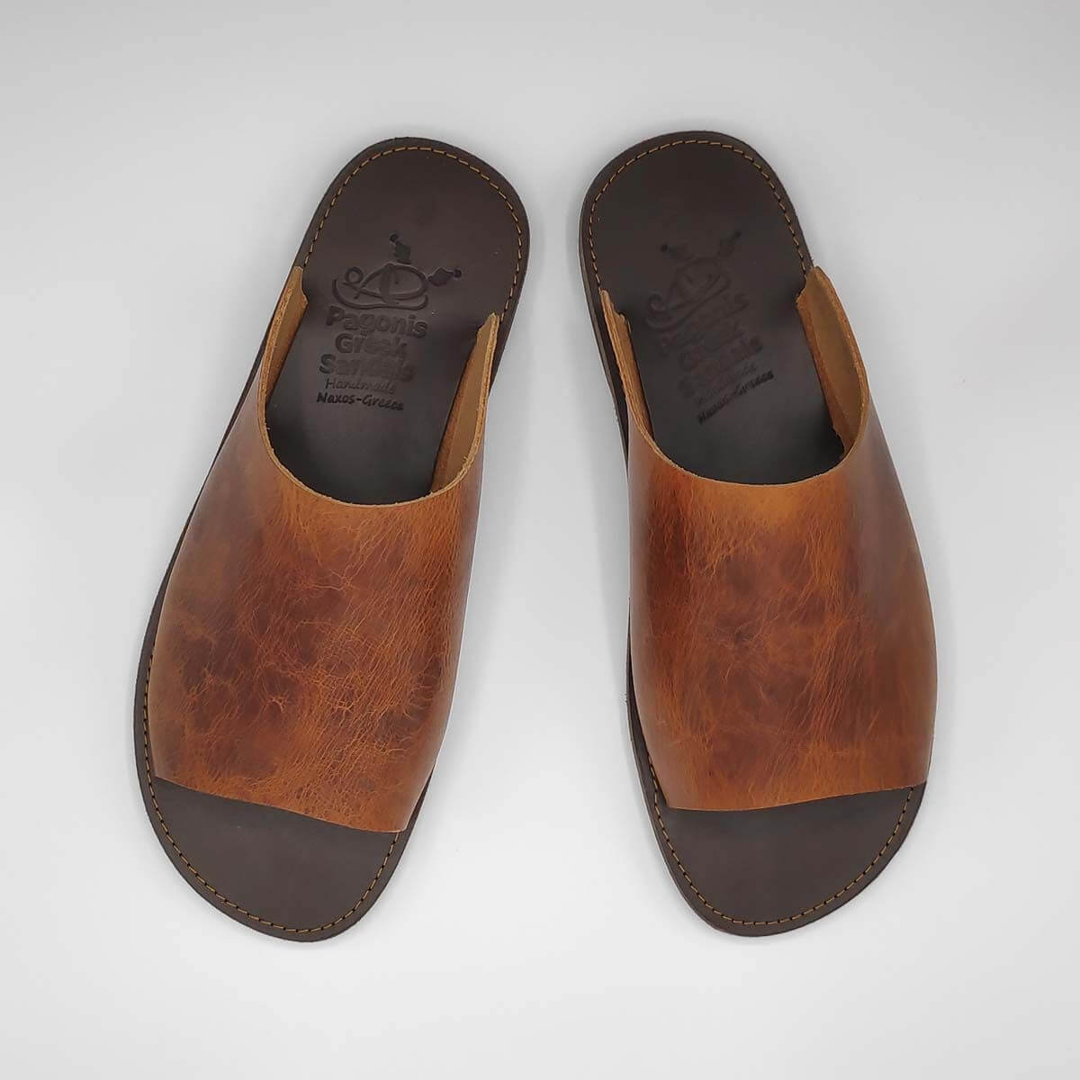 Sozon Mens Leather Mule Sandals | Pagonis Greek Sandals