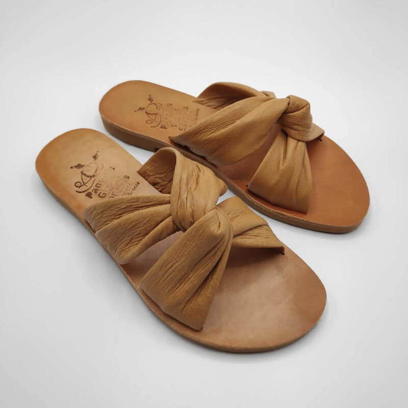 Bow slides soft leather bow sandals | Pagonis Greek Sandals
