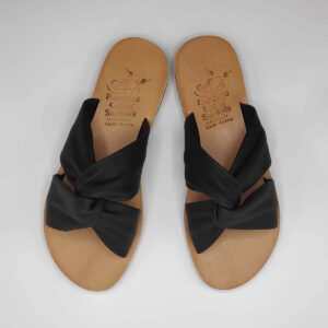 Bow slides soft leather sandals | Pagonis Greek Sandals