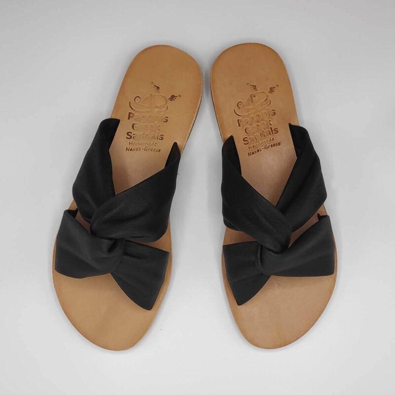 Bow slides soft leather sandals   Pagonis Greek Sandals