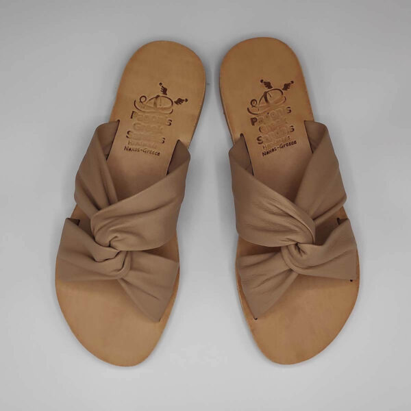 Bow slides soft leather bow sandals   Pagonis Greek Sandals
