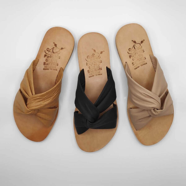 Bow slides soft leather sandals | Pagonis Greek Sandals