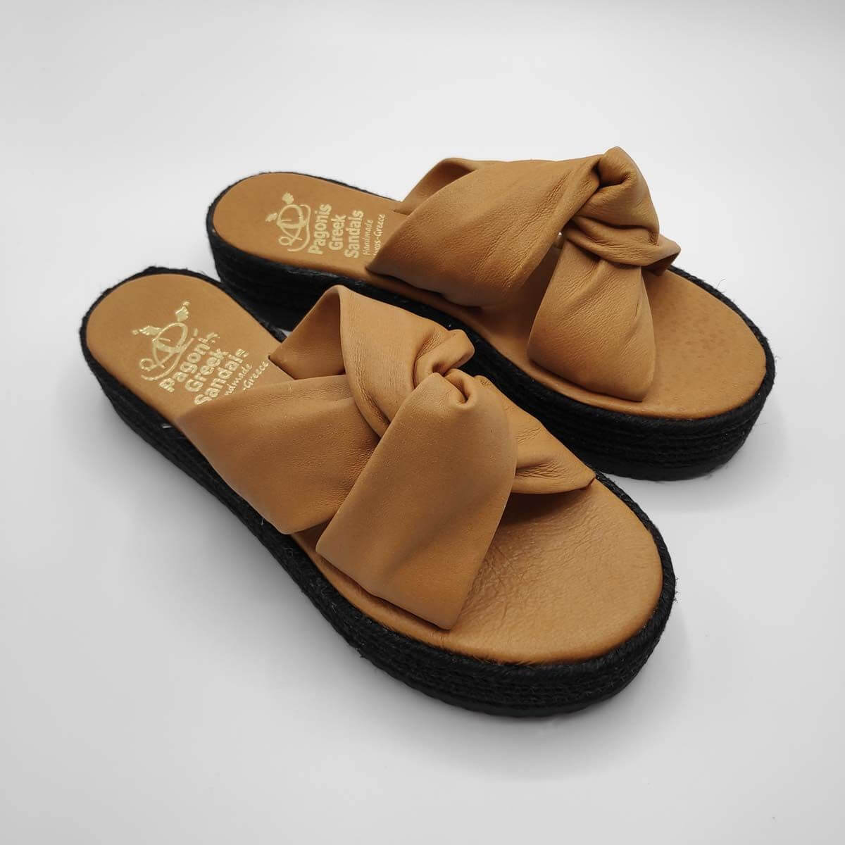 Bow platform sandals soft leather | Pagonis Greek Sandals
