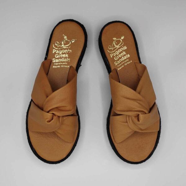 Bow platform sandals soft leather | Pagonis Greek Sandals